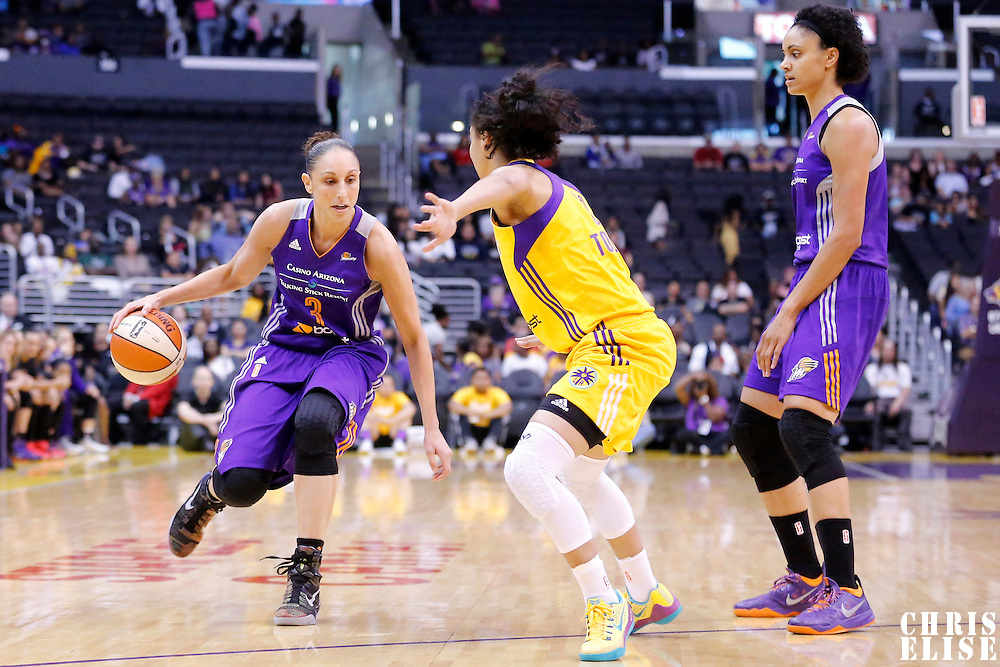 18 May 2014: Phoenix Mercury guard Diana Taurasi (3) dribbles during the Phoenix Mercury 74-69 victory over the Los Angeles Sparks, at the Staples Center, Los Angeles, California, USA.