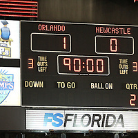 The scoreboard show the final score between Newcastle United and the Orlando City Lions of the United Soccer League, at the Florida Citrus Bowl on Saturday, July 23, 2011 in Orlando, Florida. Orlando won the match 1-0. (AP Photo/Alex Menendez)