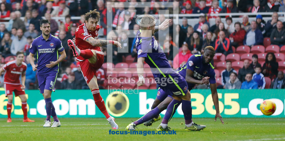 Fernando Amorebieta (c) of Middlesbrough shooting during the Sky Bet Championship match at the Riverside Stadium, Middlesbrough<br /> Picture by Simon Moore/Focus Images Ltd 07807 671782<br /> 31/10/2015