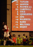 Photo. Javier Garcia<br />16/04/2003 Arsenal v Man Utd, FA Barclaycard Premiership, Highbury<br />With a red card by his name, Sol Campbell trudges off