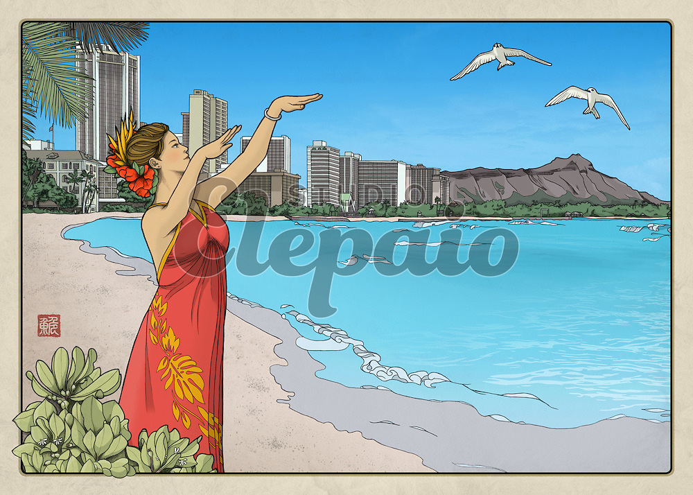 """Thirty-six Views of Diamond Head No.1, Waikiki Bay. Art by Hayataro Sakitsu. 7"""" x 5"""" prints and greeting cards are available. For other sizes, please go to """"Waikiki Bay (6:4)"""" in this gallery."""