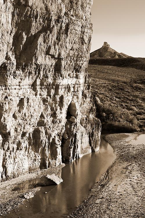 Looking into Mexico from the entrance to Santa Elena Canyon. Rio Grande River, Big Bend National Park, Texas.