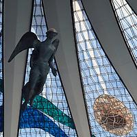 South America, Brazil, Brasilia. Brasília's Cathedral -Basilica of Our Lady Aparecida, designed by architect Oscar Neimeyer - a UNESCO World Heritage Site.