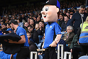 Portsmouth gain a new fan in the shape of The Dominos Pizza mascot during the Sky Bet League 2 match between Portsmouth and Mansfield Town at Fratton Park, Portsmouth, England on 24 October 2015. Photo by Michael Hulf.