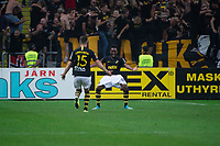 2019-09-01 | Solna, Sweden: AIKs (24) Heradi Rashidi and (15) Robert Lundström during the game between AIK and Djurgårdens IF at Friends Arena ( Photo by: Simon Holmgren | Swe Press Photo )<br /> <br /> Keywords: Friends Arena, Solna, Soccer, Allsvenskan, AIK, Djurgårdens IF