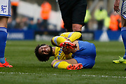 Leeds United forward Tyler Roberts (11) lies injured during the EFL Sky Bet Championship match between Birmingham City and Leeds United at St Andrews, Birmingham, England on 6 April 2019.