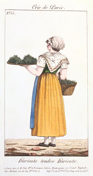 Green bean seller. From 'Arts, Metiers et Cris de Paris' Paris, 1826. Coloured engraving.