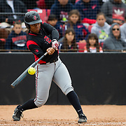 12 May 2018: San Diego State infielder Taylor Adams grounds out in the first inning against Utah State. San Diego State women's softball closed out the season against Utah State with a 4-3 win on seniors day and sweep the series. <br /> More game action at sdsuaztecphotos.com