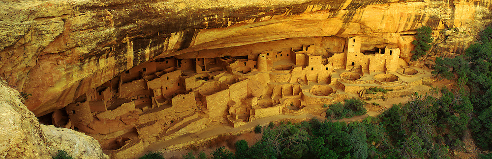 0405-1003LVT ~ Copyright: George H. H. Huey ~ Cliff Palace. This Anasazi pueblo ruin is the largest cliff dwelling in North America with 150 rooms and 23 kivas. Mesa Verde National Park, Colorado.