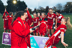 Bristol City Women celebrate after they win the match 5-0 not quite managing to overcome Yeovil Town's goal difference to win the league but with promotion to WSL 1 confirmed - Rogan Thomson/JMP - 06/11/2016 - FOOTBALL - The Northcourt Stadium - Abingdon-on-Thames, England - Oxford United Women v Bristol City Women - FA Women's Super League 2.