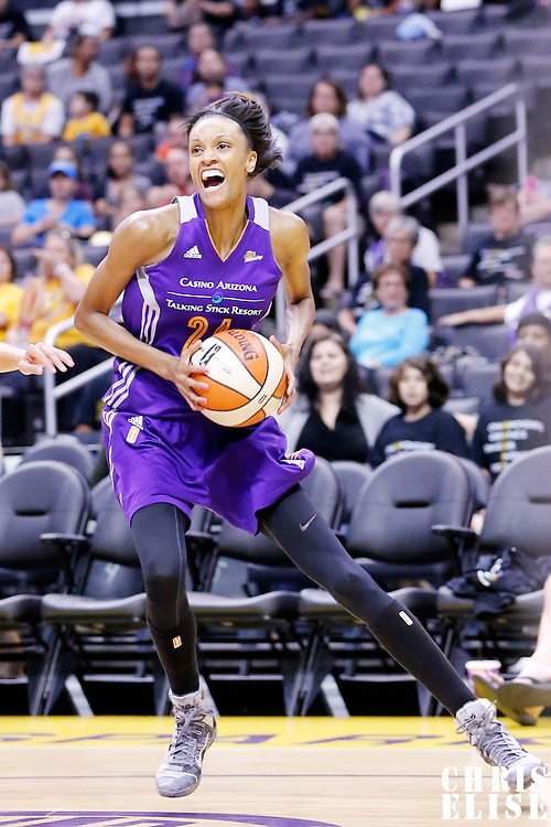 18 May 2014: Phoenix Mercury guard/forward DeWanna Bonner (24) drives to the basket during the Phoenix Mercury 74-69 victory over the Los Angeles Sparks, at the Staples Center, Los Angeles, California, USA.