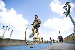 May 4, 2019 - London, UK - A man cycles his Penny Farthing bicycle across Southwark Bridge on the Tweed Run bike ride in Central London. The annual event sees hundreds of people cycle around the capital past various landmarks wearing vintage tweed outfits. (Credit Image: © Rob Pinney/London News Pictures via ZUMA Wire)