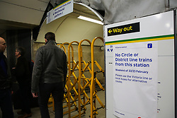 © Licensed to London News Pictures. 22/02/2020. London, UK. A poster at Victoria Station Underground Station informing passengers about Circle and District lines which are closed due to planned engineering works. Due to Bakerloo Line Strike this will cause extra disruption to the travel on the weekend. Photo credit: Dinendra Haria/LNP  Photo credit: Dinendra Haria/LNP
