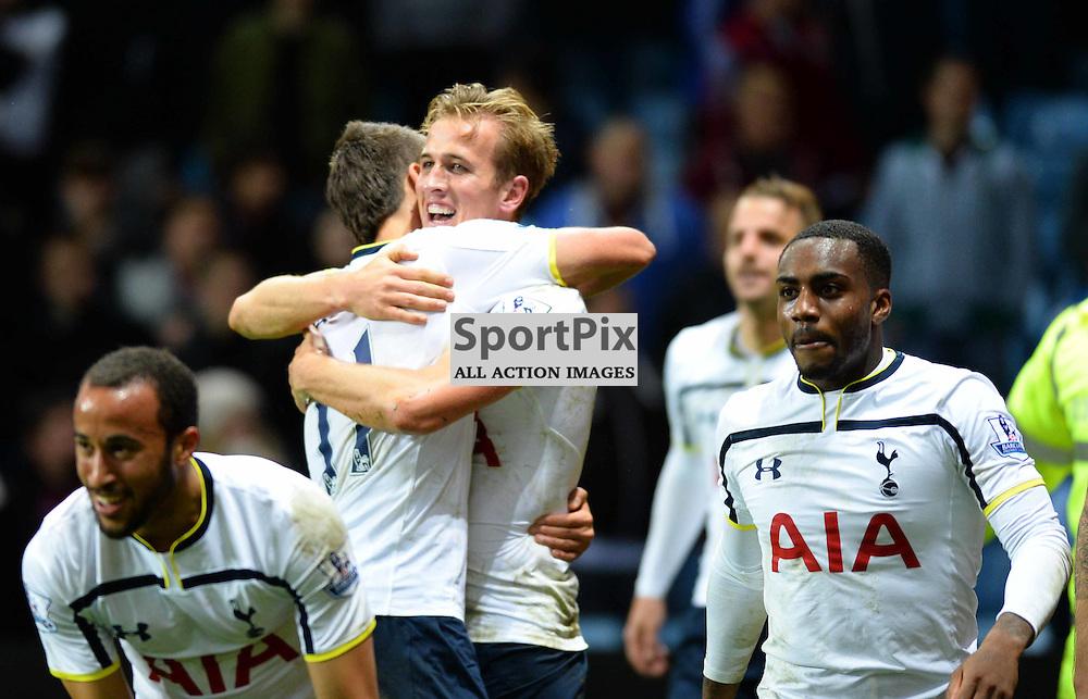 Harry Kane of Tottenham scores the winner in a 2-1 win over Aston Villa