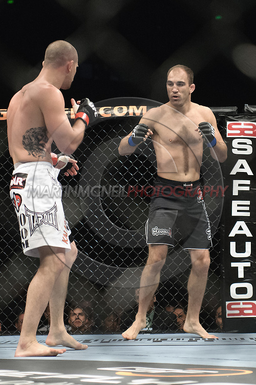 """SYDNEY, AUSTRALIA, FEBRUARY 27, 2011: Brian Ebersole (facing) and Chris Lytle during """"UFC 127: Penn vs. Fitch"""" inside Acer Arena in Sydney, Australia on February 27, 2011."""
