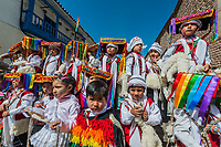Cuzco, Peru - July 12, 2013: kids in traditional costumes in the Plaza de Armas at Cuzco Peru on july 12th, 2013