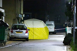 © Licensed to London News Pictures. 10/05/2019. London, UK.  A police forensic tent withing the cordon at Seven Kings Mosque in east London, where it has been reported that a gun was fired by a masked gunman.  Photo credit: Vickie Flores/LNP