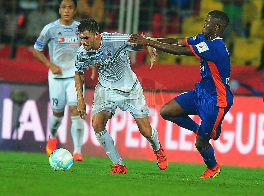 Jonatan Lucca of FC Pune City during match 8 of the Indian Super League (ISL) season 3 between FC Goa and FC Pune City held at the Fatorda Stadium in Goa, India on the 8th October 2016.<br /> <br /> Photo by Faheem Hussain / ISL/ SPORTZPICS
