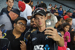 March 4, 2017 - Auckland, New Zealand - Mitchell Santner of New Zealand takes selfie with fans                                after l the final match of  One Day International series between New Zealand and South Africa at Eden Park on March 4, 2017 in Auckland, New Zealand (Credit Image: © Shirley Kwok/Pacific Press via ZUMA Wire)