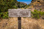 Trail sign at Lobo Canyon, Santa Rosa Island, Channel Islands National Park, California USA