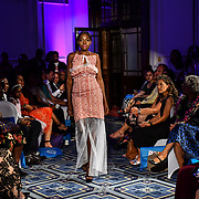 London Pacific Fashion Week 2019 showcases it lastest collection to fights Climate Change with materials from tree, plant and leaves at Royal Horseguards Hotel, on 13 September 2019, London, UK.