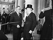 Beattie, Mr Jack (MP - Belfast) at Presidential Inauguration of Sean T O'Ceallaigh, Dublin Castle.25/06/1952