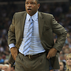 11 February 2009:  Boston Celtics coach Doc Rivers watches his team during a NBA game between the Boston Celtics and the New Orleans Hornets at the New Orleans Arena in New Orleans, LA.