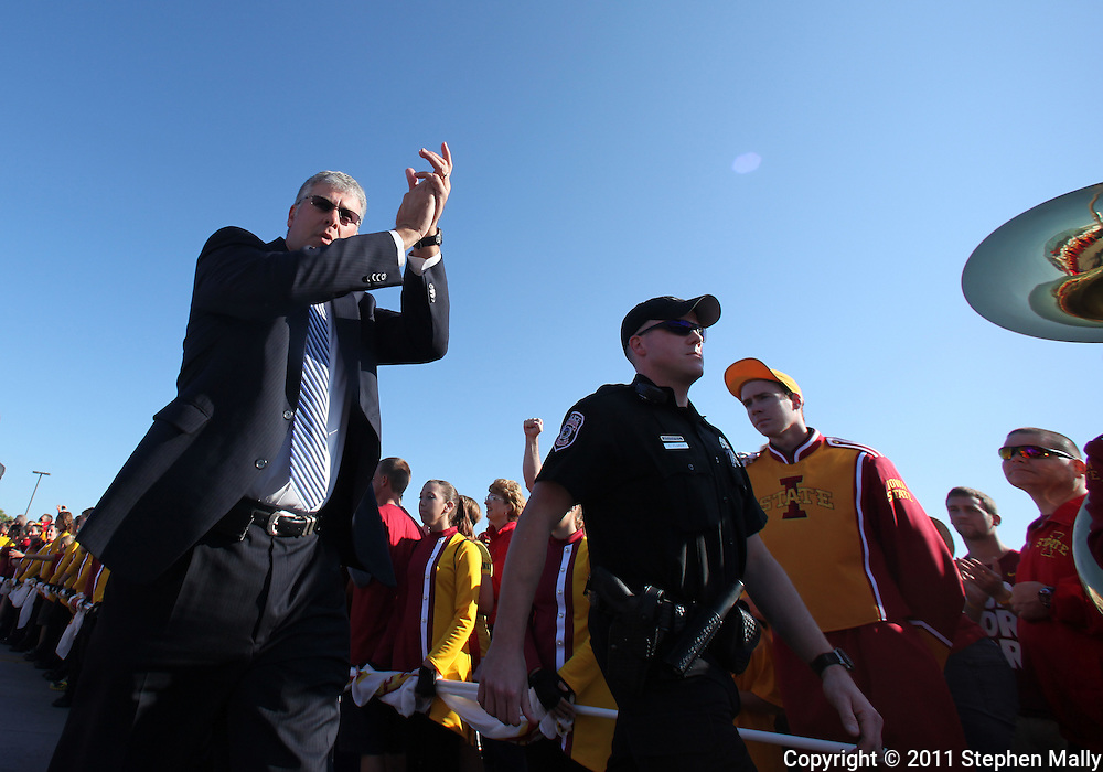 September 10, 2011: Iowa State Cyclones head coach Paul Rhoads arrives with the team before the start of the game between the Iowa Hawkeyes and the Iowa State Cyclones during the Iowa Corn Growers Cy-Hawk game at Jack Trice Stadium in Ames, Iowa on Saturday, September 10, 2011. Iowa defeated Iowa State X-X.