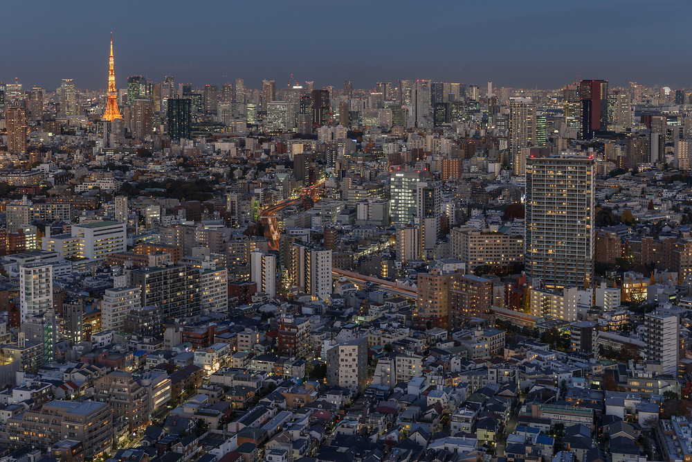 Tokyo, Japan, December 5 2017 - View over Tokyo as seen from the Ebisu area.