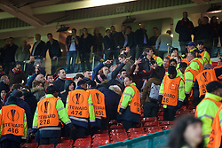 MANCHESTER, ENGLAND - Wednesday, March 16, 2016: Manchester United supporters hurl abuse at Liverpool fans after being knocked out 3-1 on aggregate (1-1 on the night) during the UEFA Europa League Round of 16 2nd Leg match at Old Trafford. (Pic by David Rawcliffe/Propaganda)