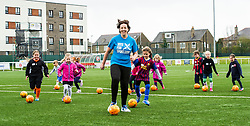 Pictured: Kezia Dugdale got stuck into the training session with her young teammates.<br /> <br /> Scottish Labour leader on campaign trail. Kezia Dugdale will visit Spartans Community Football Academy' 'Little Miss Kickers' programme - a programme designed to encourage the social and sporting development of girls aged 5-8, supported by Scottish FA qualified coaches.<br /> <br /> Ger Harley | EEm 15 April 2016