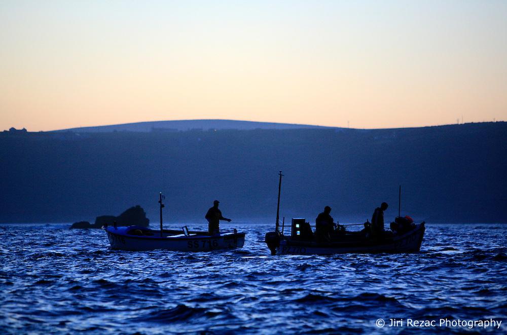 UK ENGLAND CORNWALL SENNEN COVE 11JUN08 - Cornish handline fishermen fish for Mackerel before sunrise off Sennen Cove on the southwestern coast of Cornwall, England...jre/Photo by Jiri Rezac / WWF UK..© Jiri Rezac 2008..Contact: +44 (0) 7050 110 417.Mobile:  +44 (0) 7801 337 683.Office:  +44 (0) 20 8968 9635..Email:   jiri@jirirezac.com.Web:    www.jirirezac.com..© All images Jiri Rezac 2008 - All rights reserved.