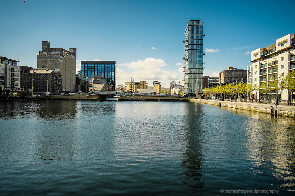 Dublin City, Ireland: An image of the new buildings and old mill of Grand Canal Dock, and Grand Canal Quay in Dublin's Docklands district