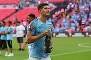 Manchester City Defender John Stones (5) celebrating win during the FA Community Shield match between Chelsea and Manchester City at Wembley Stadium, London, England on 5 August 2018.