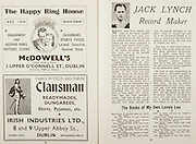 All Ireland Senior Hurling Championship Final,.Brochures,.07.09.1947, 09.07.1947, 7th September 1947,.Kilkenny 0-14, Cork 2-7,.Minor Galway v Tipperary, .Senior Kilkenny v Cork, .Croke Park,..Advertisements, McDowell's The Happy Ring House, Clansman Irish Industries Ltd, ..Articles, Jack Lynch Record Maker, ..Poems, The Banks of My Own Lovely Lee,