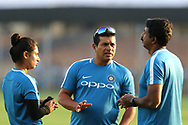 Mithali Raj captain of India, Indian coach Tushar Arothe  and Indian fielding coach Biju George during the second women's one day International ( ODI ) match between India and Australia held at the Reliance Cricket Stadium in Vadodara, India on the 15th March 2018<br /> <br /> Photo by Vipin Pawar / BCCI / SPORTZPICS