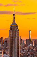 Empire State Building and  One World Trade Center at sunset, New York, New York USA.