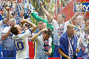 PROMOTED Tranmere Rovers midfielder James Norwood (10)  celebrates after winning the EFL Sky Bet League 2 Play Off Final match between Newport County and Tranmere Rovers at Wembley Stadium, London, England on 25 May 2019.