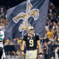 Dec 27, 2015; New Orleans, LA, USA; New Orleans Saints quarterback Drew Brees (9) after a touchdown pass against the Jacksonville Jaguars during the first quarter of a game at the Mercedes-Benz Superdome. Mandatory Credit: Derick E. Hingle-USA TODAY Sports