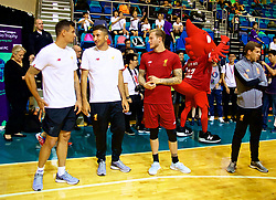 HONG KONG, CHINA - Tuesday, July 18, 2017: Liverpool's Dejan Lovren, Marko Grujic and goalkeeper Loris Karius during a Premier League skills kids event at the Macpherson Stadium ahead of the Premier League Asia Trophy 2017. (Pic by David Rawcliffe/Propaganda)