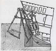 Marquis de Jouffroy's  (1751-1832) method of propellign his steam boat which ran on the River Seine in 1781.