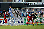 Picture by Ian Wadkins/Focus Images Ltd +44 7877 568959<br /> 25/07/2013<br /> Andy Parkinson of Prestatyn Town heads at goal during the second leg of the UEFA Europa League round two qualifying match at Belle Vue Stadium, Rhyl.