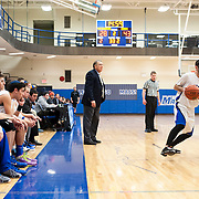 February 19, 2014 - New York, NY : Johnny Halpert's unprecedented 42nd year as coach of Yeshiva University's basketball team will be his last. On Friday, February 6th, coach Halpert announced that his contract would not be renewed. Pictured here, Halpert, center, coaches from the sidelines during Yeshiva's 63-37 loss to Mount Saint Mary's College on Wednesday night. CREDIT: Karsten Moran for The New York Times