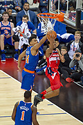 Washington Wizards Chasson Randle (9) and New York Knicks Allonzo Trier (14)  during the NBA London Game match between Washington Wizards and New York Knicks at the O2 Arena, London, United Kingdom on 17 January 2019.
