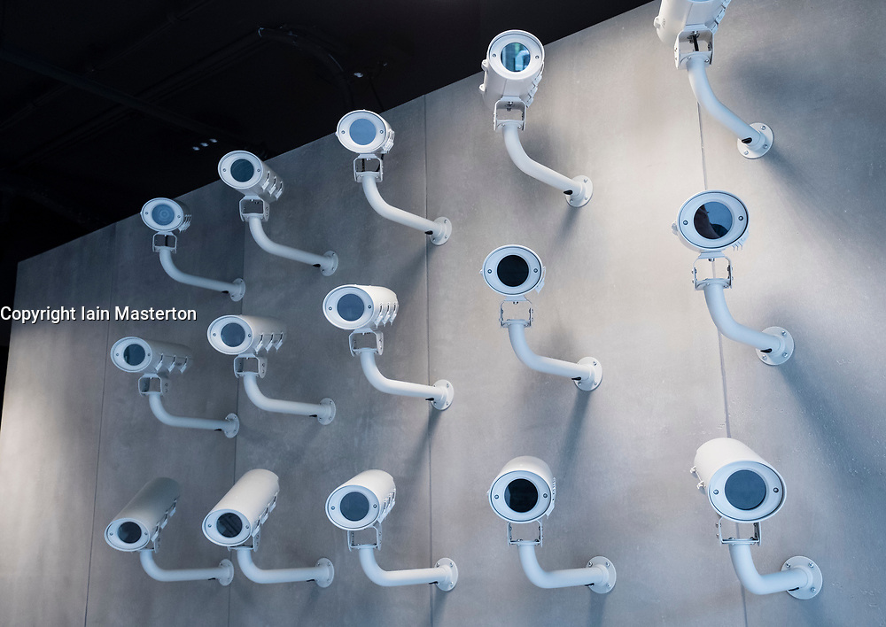 Display of CCTV cameras at German Spy Museum in Berlin Germany