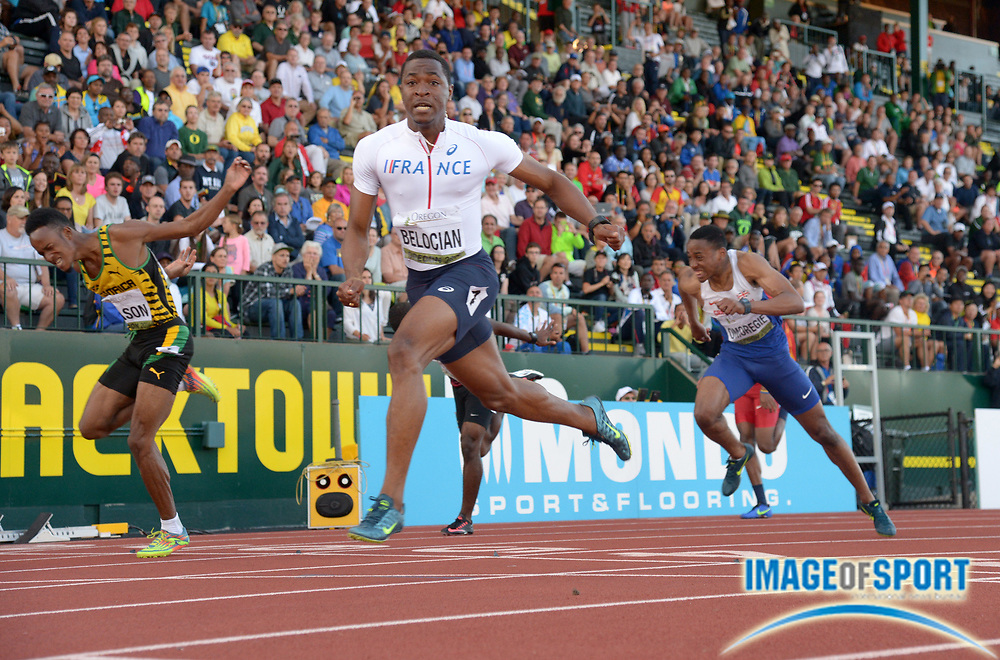 Jul 24, 2014; Eugene, OR, USA; Wilhem Belocian (FRA) wins the 110m hurdles in a world junior record 12.99 in the 2014 IAAF World Junior Championships at Hayward Field. From left: Tyler Mason (JAM), Belocian and David Omoregie (GBR).