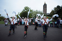 © Licensed to London News Pictures. 01/05/2017. Bristol, UK. Morris dancers perform at Mayday on Bristol's Brandon Hill at dawn and sunrise in the folk custom to welcome in the summer season. Picture of Pigsty Morris. Photo credit : Simon Chapman/LNP
