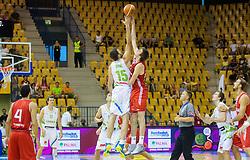 Mirza Begic of Slovenia vs Izzet Turkyilmaz of Turkey during friendly match between National teams of Slovenia and Turkey for Eurobasket 2013 on August 4, 2013 in Arena Zlatorog, Celje, Slovenia. (Photo by Vid Ponikvar / Sportida.com)