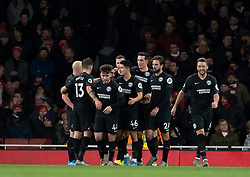 LONDON, ENGLAND - Thursday, December 5, 2019: Brighton & Hove Albion players celebrate their opening goal during the FA Premier League match between Arsenal FC and Brighton & Hove Albion FC at the Emirates Stadium. (Pic by Vegard Grott/Propaganda)