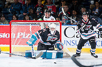 KELOWNA, CANADA - OCTOBER 24: Jackson Whistle #1 of Kelowna Rockets defends the net against the Calgary Hitmen on October 24, 2015 at Prospera Place in Kelowna, British Columbia, Canada.  (Photo by Marissa Baecker/Shoot the Breeze)  *** Local Caption *** Jackson Whistle;